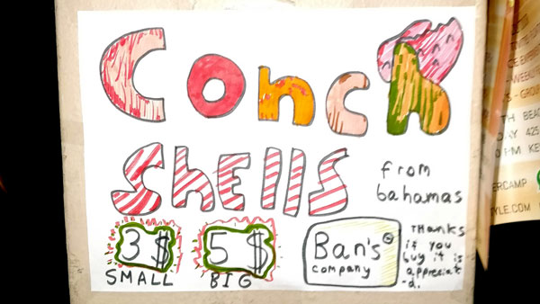 Conch for sale sign in Key Biscayne