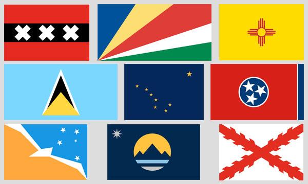 Flags of Amsterdam, Seychelles, New Mexico, St. Lucia, Alaska, Tennessee, Tierra del Fuego, Reno, Spanish Florida
