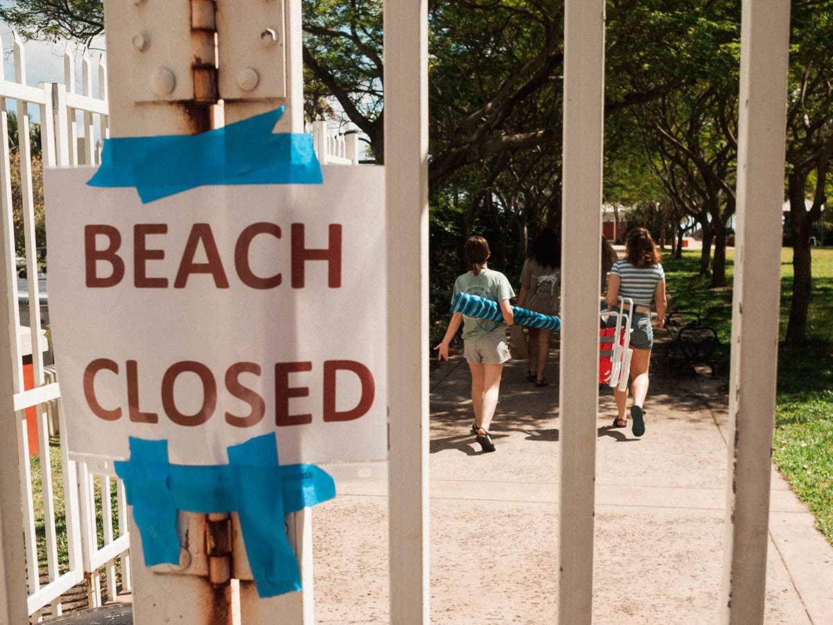 Key Biscayne Beach Park closed coronavirus March 2020