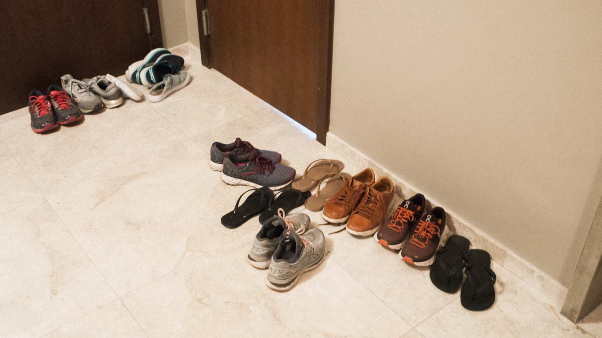 Shoes in a hallway because of coronavirus scare in Key Biscayne