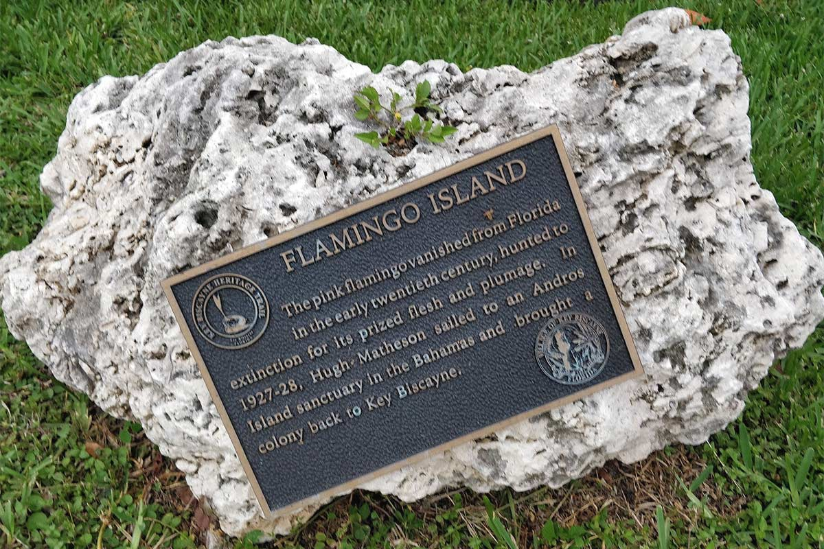 Flamingo island plaque Key Biscayne May 2020