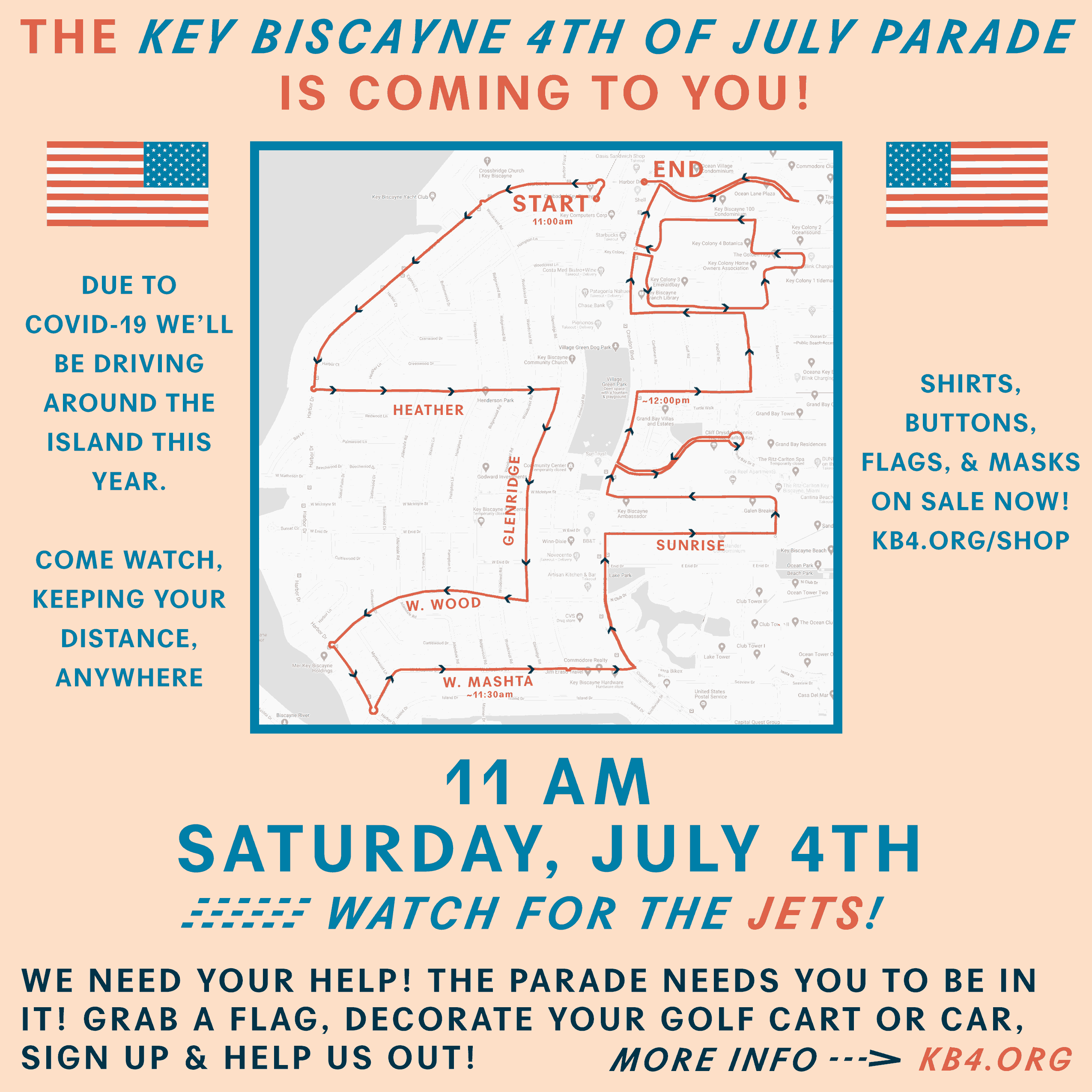 Key Biscayne 4th of July parade route 2020