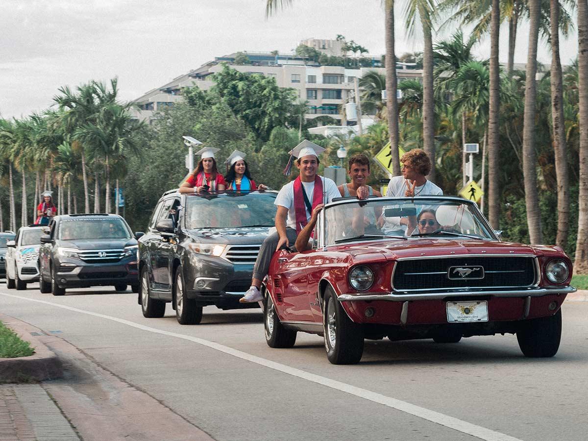 Key Biscayne 2020 graduates parade Crandon June 2020