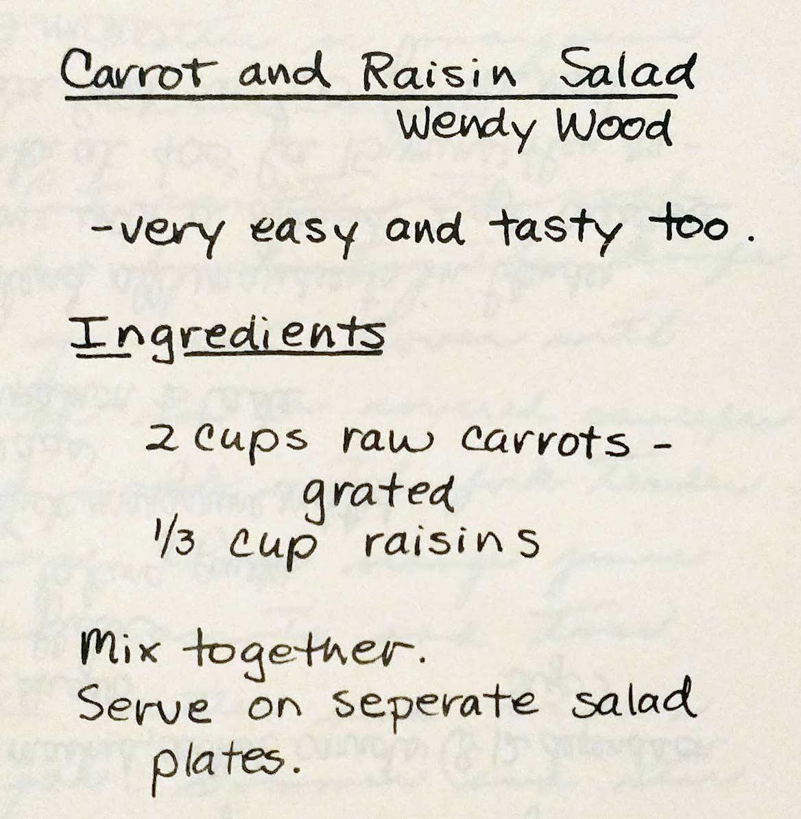 Wendy wood carrot raisin salad key biscayne cookbook 1976