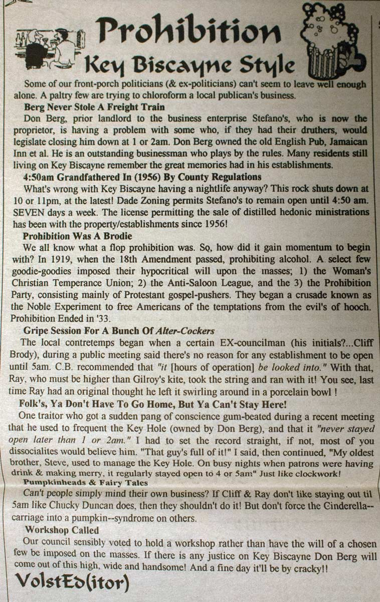 Article about prohibition in Key Biscayne from Coconut Telegraph c.1990s