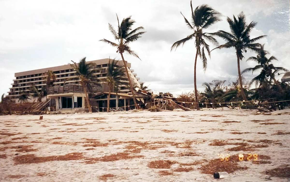 Eagles nest bar at the silver sands motel after hurricane andrew key biscayne 1992