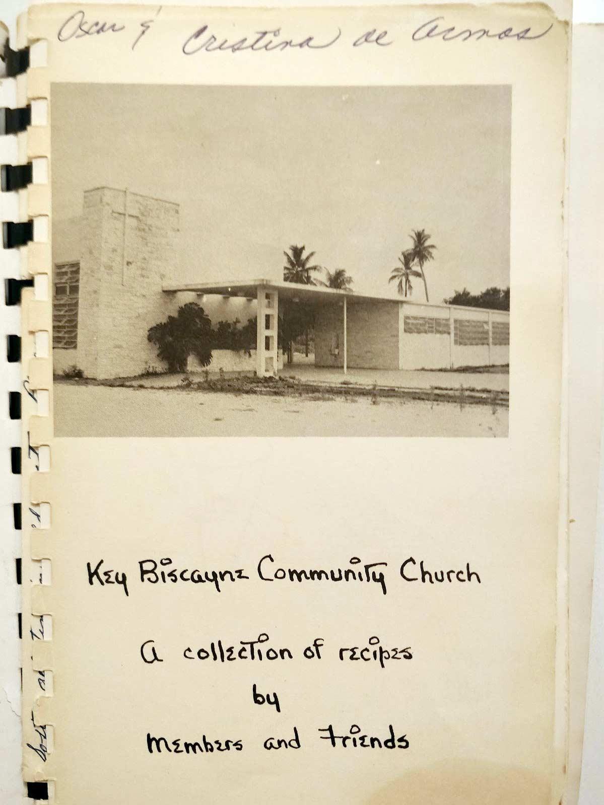Key Biscayne cookbook inside cover Key Biscayne Community Church c.1954