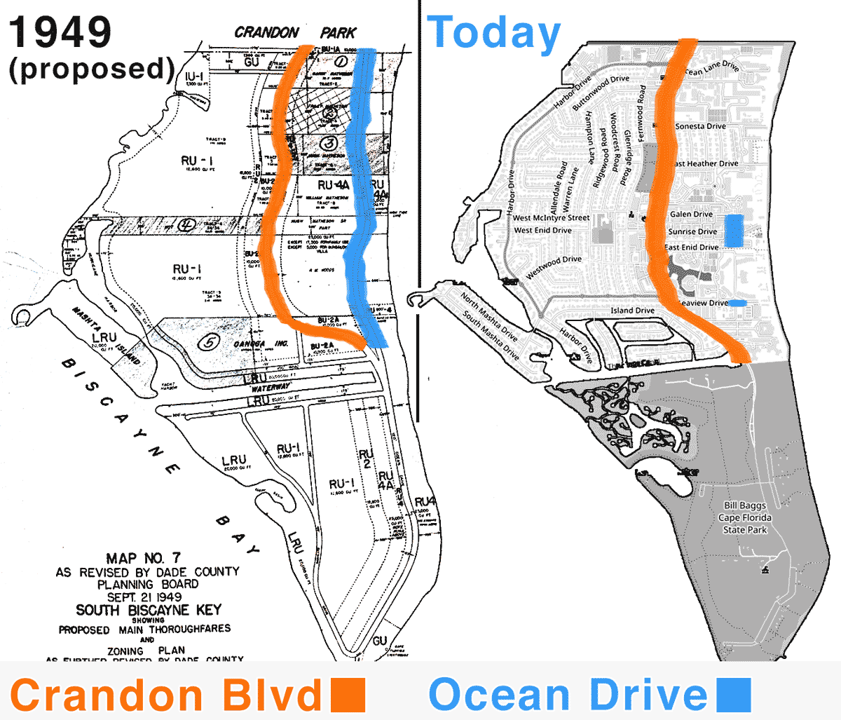 Comparison map showing Ocean drive KB 1949 / today