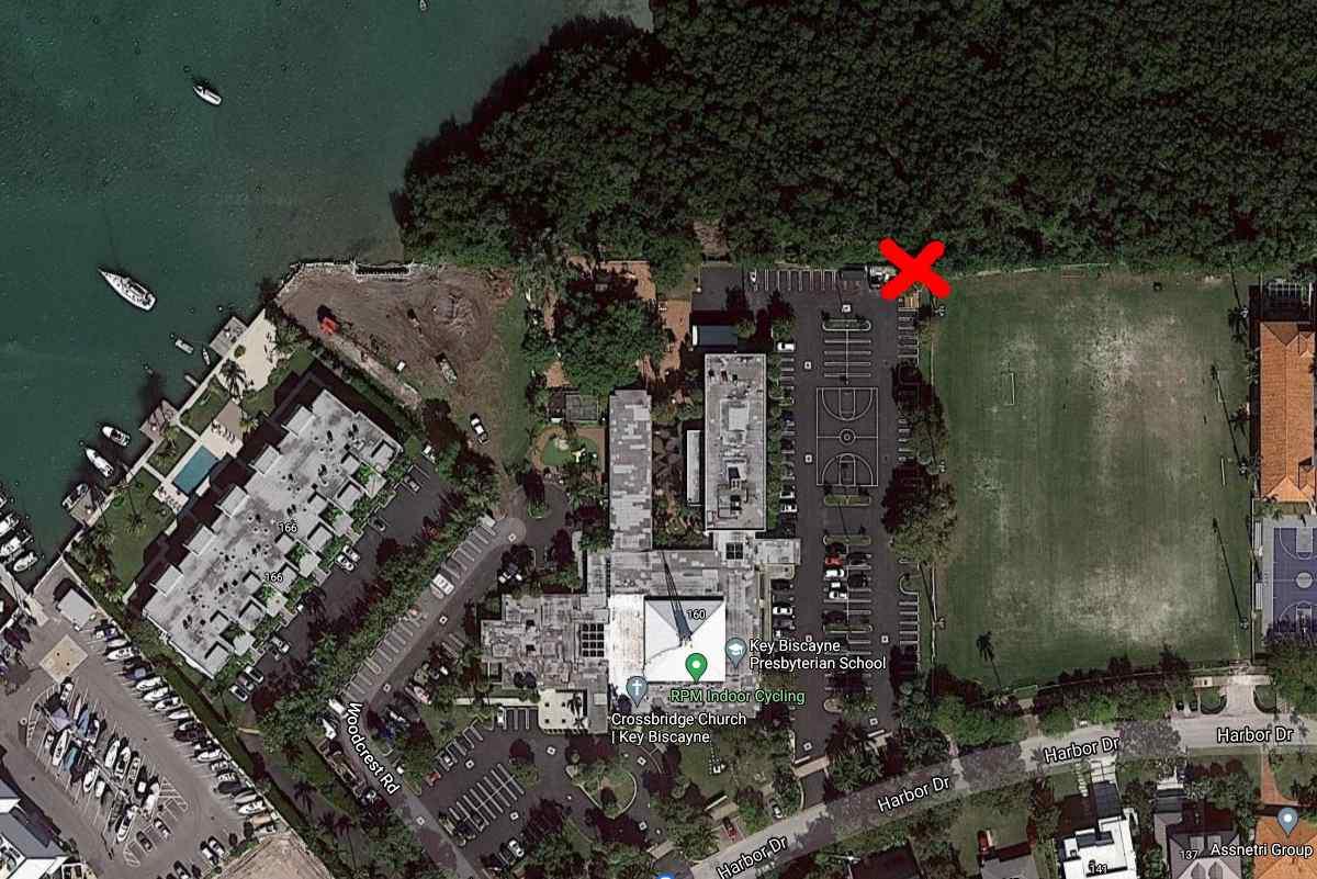 Map marking bay access spot.