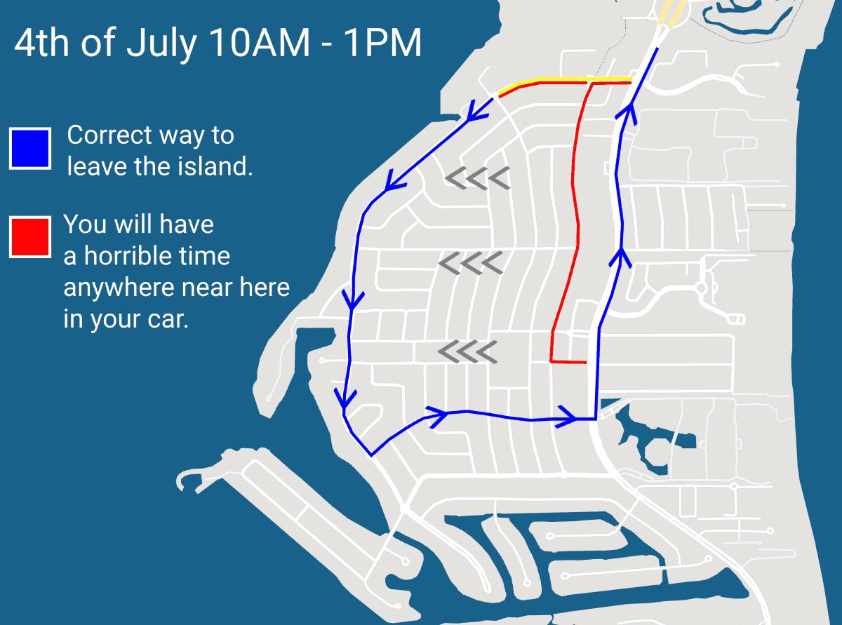 Key Biscayne 4th of July traffic