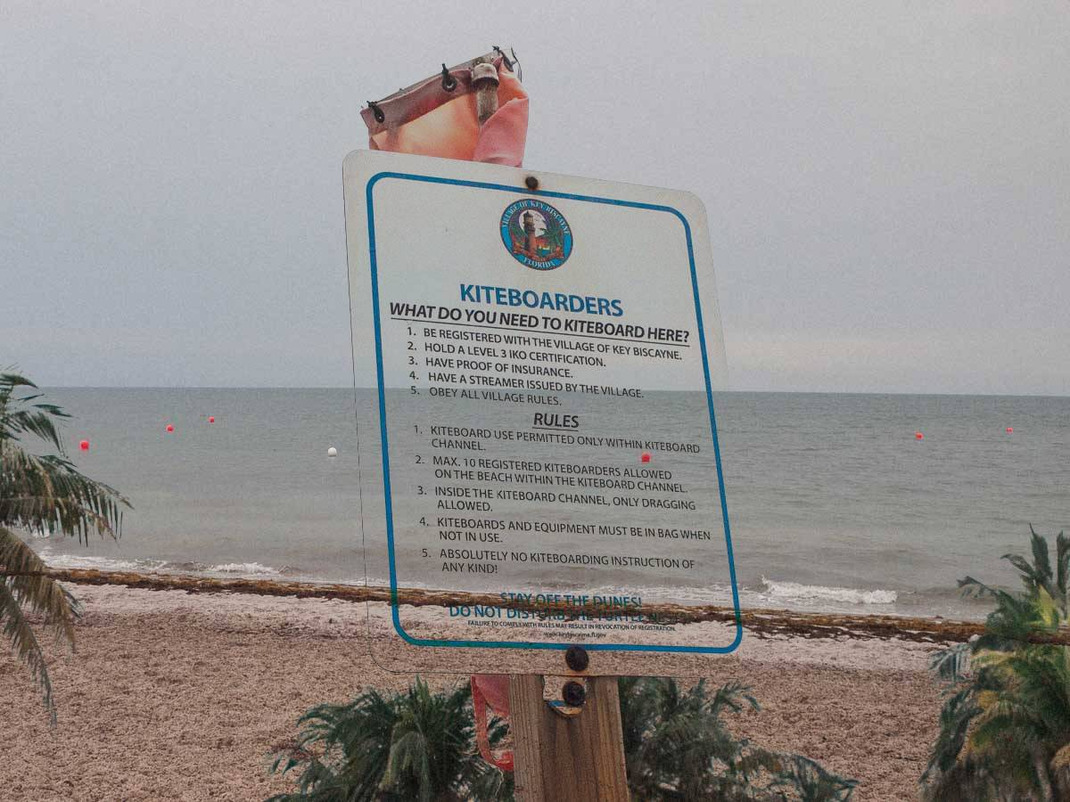 Kiteboard markers and sign key biscayne june 2021