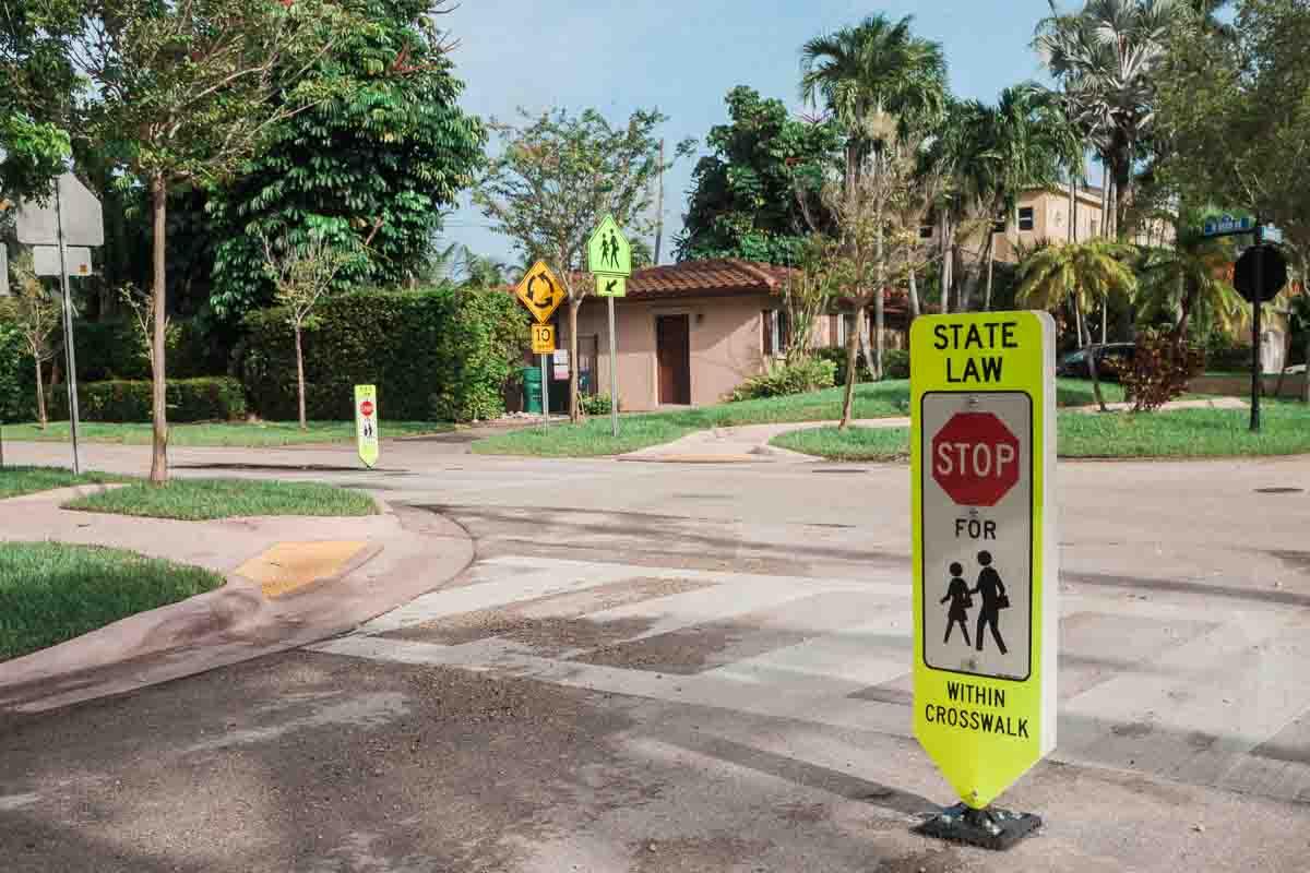 Stop for pedestrians signs Key Biscayne